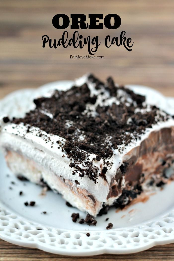 OREO Pudding Cake dessert recipe - sweet, creamy chocolate pudding, cream cheese and whipped topping with the bittersweet cocoa taste of OREO cookies