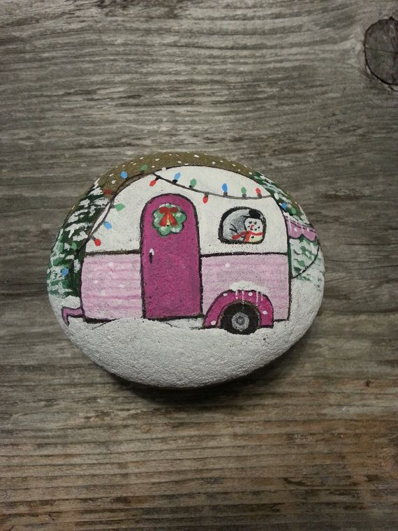 Hand Painted Pink Retro Christmas Camper Trailer By