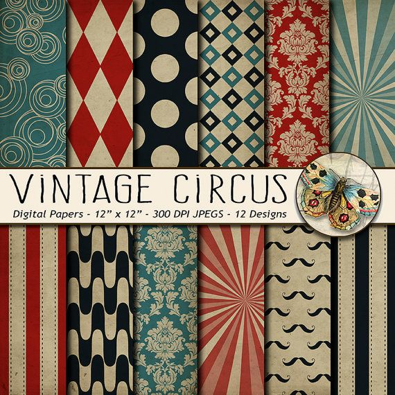 Circus Digital Paper  This digital paper download includes12 high resolution Distressed Old Vintage Circus Background papers including Big Tent