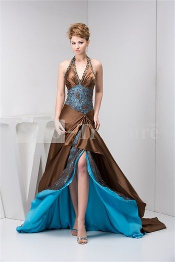 Brown/Blue Silk-like Satin/ Lace Court Train Halter A-line Prom ...