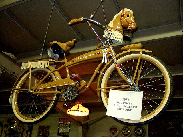 1952 Roy Rogers Rollfast boys bike. I wanted this Bike so bad with the horse head...we always pretented our bikes were horses...I hand rawhide reins.....