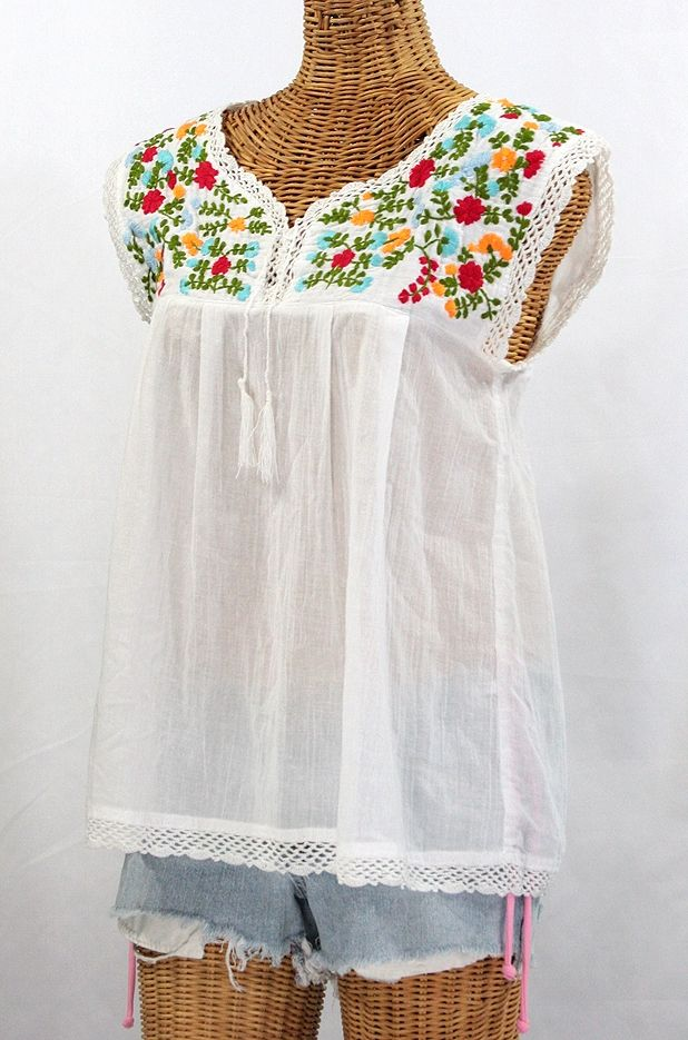 """""""La Marbrisa"""" Embroidered Mexican Sleeveless Peasant Blouse Top -White"""