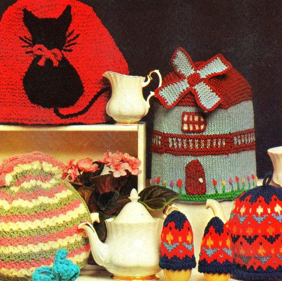 Vintage Tea Pot Cozy Patterns Collection (2 Crochet, 4 Knit, 1 knit egg cozy) PDF $5.04 on Etsy at http://www.etsy.com/listing/101694875/vintage-tea-pot-cozy-pattern-collection