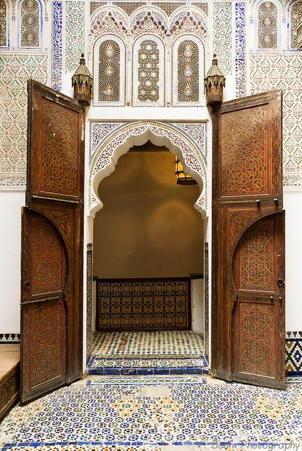 Door of the Upper Courtyard at Dar Jamaï Museum, Meknès, Morocco