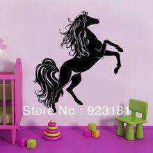 hot elegante paard pony meisjes liefde dier kunst aan de muur stickers sticker diy home decoration muurschildering verwisselbare kamer sticker 50x45cm(China (Mainland))