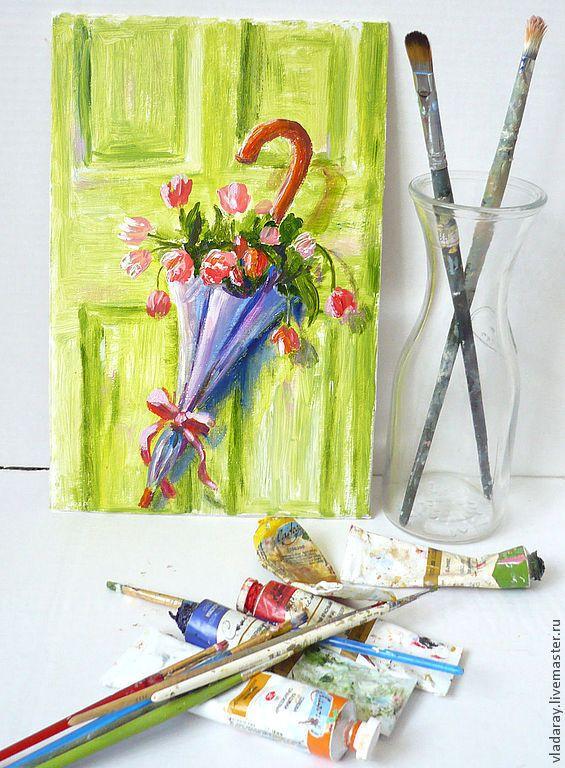 """Купить картина """"После прогулки"""" - картина для интерьера, цветы в зонтике…"""