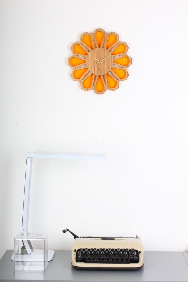 70s Floral Retro Orange Wall Clock by