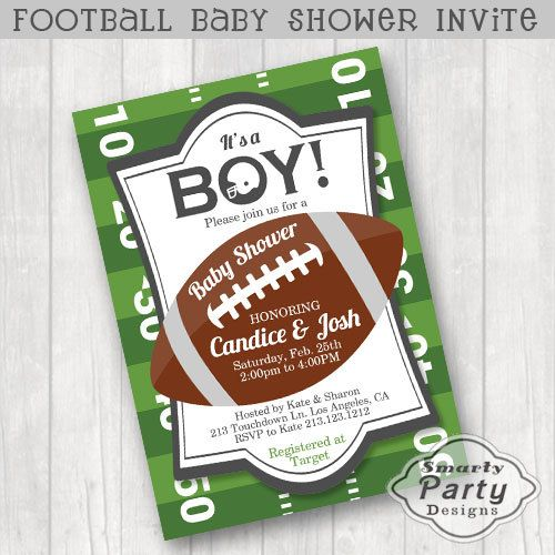 Football Baby Shower Invite Invitation By SmartyPartyDesigns