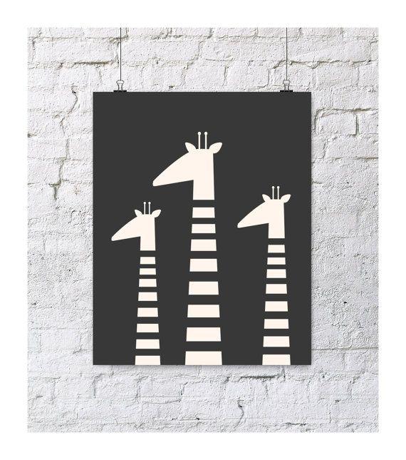 Giraffe family black and white art print #blackandwhite #pishposhbaby