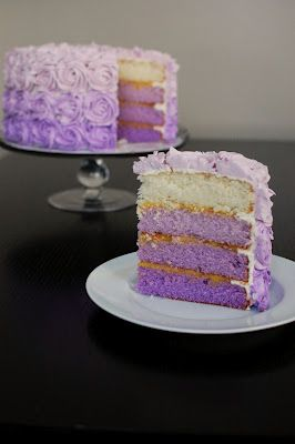 Purple Ombre Cake inside as pretty as the the outside