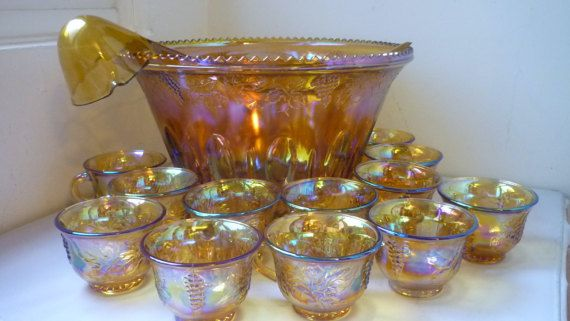 Punch Bowl Amber Carnival Glass Set Including 12 Glass cups