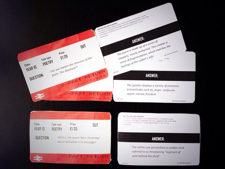 Karan style, Quiz Quiz Trade Cards in the form of National Rail tickets
