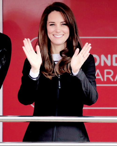 """"""" Catherine, Duchess of Cambridge officially starts the 2017 Virgin Money London Marathon elite men's and mass race, which includes the Heads Together team in London, England. 