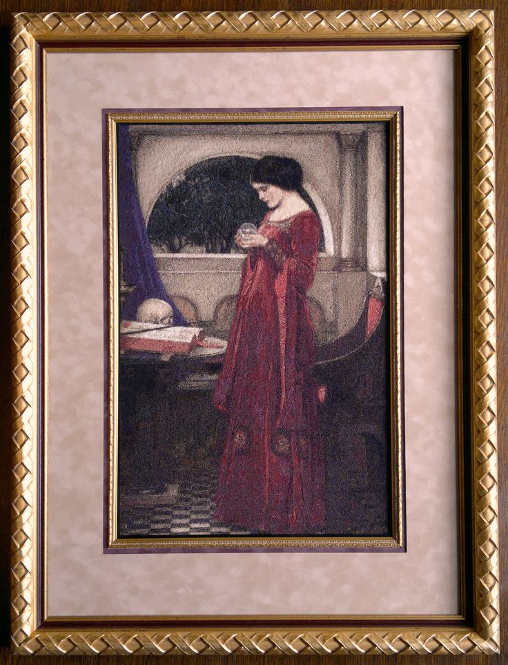 The Crystal Ball -  J.W. Waterhouse. 1902  Stitched May 2013-August 2014  Chart by Scarlet Quince. The matting is not pink in real life, more like a sandstone tone.