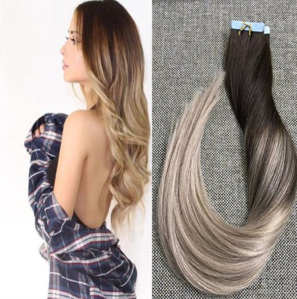 Full Shine Glue In Ombre Balayage Tape Hair Extensions(#4 #18)