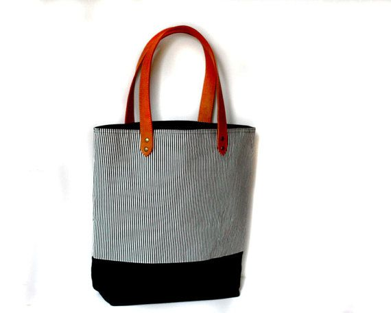 Stripe Canvas Bag, leather and canvas tote bag, beach bag, diaper bag, large bag #clutch #Handbag