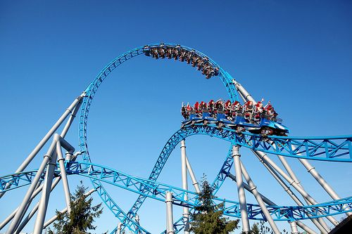 """blue fire Megacoaster at Europa park Germany :One thrill element follows another during the journey of over a kilometer in length. It is the first roller coaster at Europa-Park that goes over the head, and even four times! Blue fire is not only the highest looping in a European launch coaster, a 360 ° roll and two others on the header elements, in addition, has the job a """"hump"""" through the loop that guarantees a great ride experience. And all at a speed of 100 kilometers per hour pulling…"""