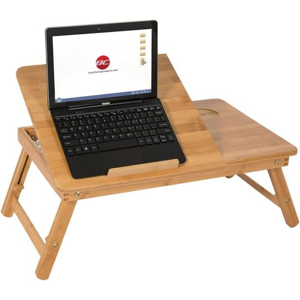 100% Bamboo Adjustable Laptop Table Computer Desk Tilting Top W/ Drawer Bed Tray
