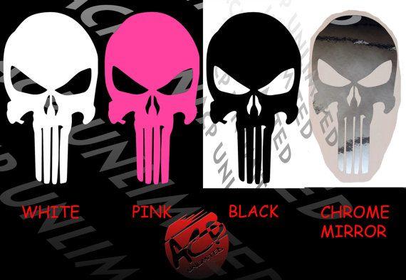Punisher Skull Decal Sticker Chrome White Black Pink Window