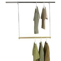 The Container Store > Double Hang Closet Rod $10.Our Double Hang Closet Rod makes quick work of expanding your closet's hanging space. Just hook it over the existing closet rod and you've achieved instant space. Beautifully made of chrome-plated steel with a hardwood bar, it's an extremely affordable way to double my hanging space.