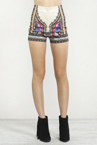 High Waisted Printed Shorts- Cream with Black – Bohemian Tapestry