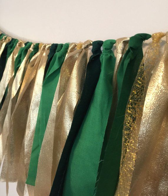 Green And Gold Garland, Fabric Rag Garland, Party Banner