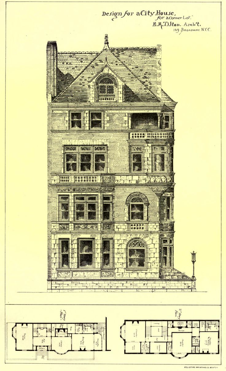 Design for a city house for a corner lot, New York City