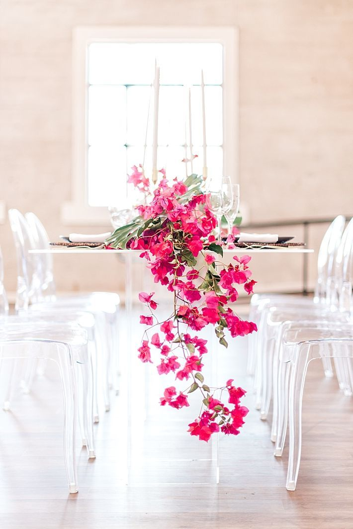 Modern Tropical Wedding Inspiration with Bougainvillea and Tropical Plants at…