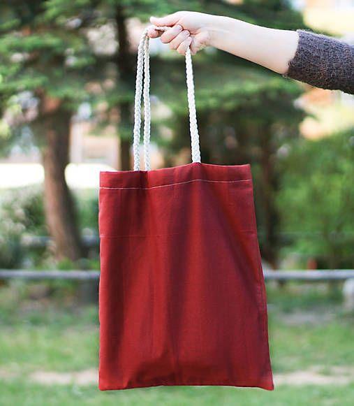 silvART / Bordová (taška s pletenými rúčkami)