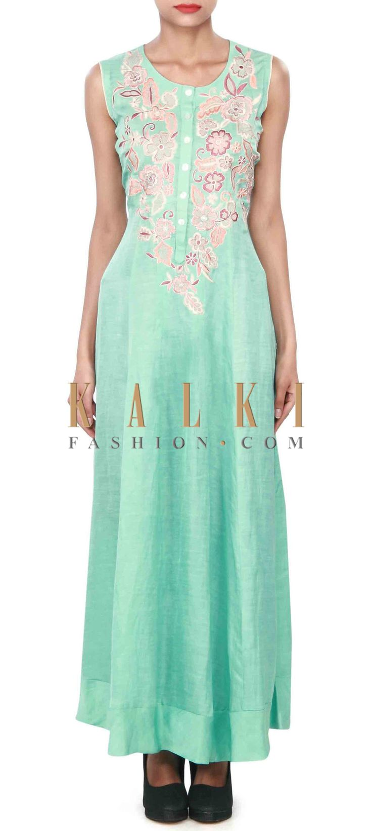 Buy Online from the link below. We ship worldwide (Free Shipping over US$100) Price-$109 Click Anywhere to Tag http://www.kalkifashion.com/light-green-kurti-enhanced-in-resham-embroidery-only-on-kalki.html
