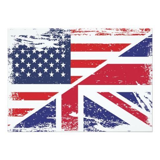 Grunge English American Flag Custom Announcement