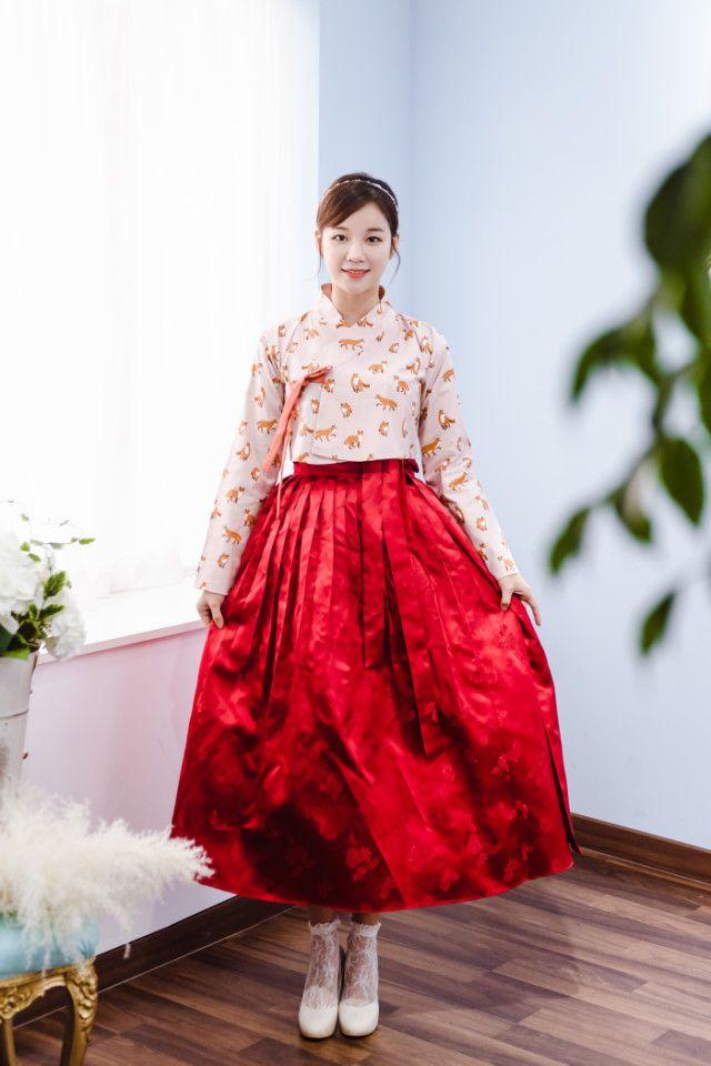 동백처럼 붉은 양단 허리치마, 감성 생활한복 자체제작 다래원 한복