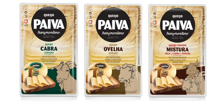Gama de queijos tradicionais fatiados Paiva Transmontano #packaging #design #food #cheese #sheep #goat #threemilks #regional #classic