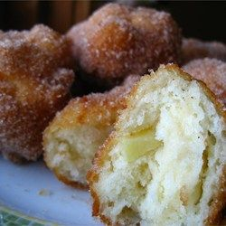 Mom's Apple Fritters - Allrecipes.com   Double the sugar and add cinnamon to the batter... Took about 7 min to fry...... Yum!