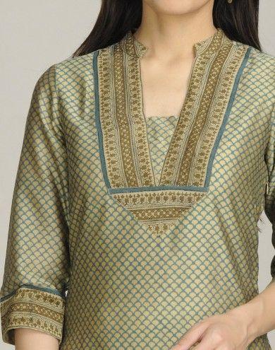 Silk Cotton Chanderi Printed Long Kurta