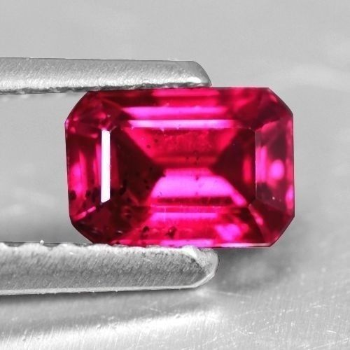 0.54 Cts Lustrous Top Blood Red Ruby Emerald Cut Loose Gemstone Oldmogok Lovely