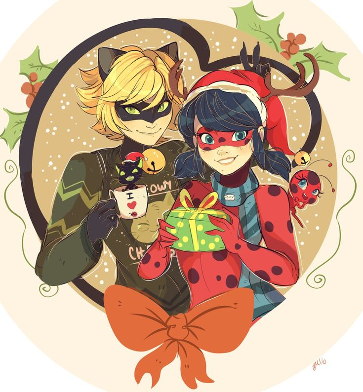 A Miraculous Christmas, featuring bunny ears and Plagg in a cup! (Miraculous Ladybug, Chat Noir, Tikki, Plagg)