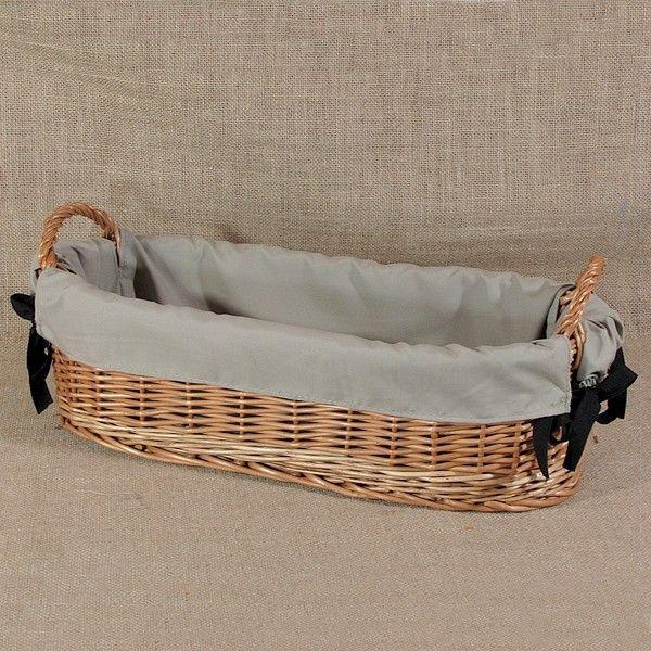 Koszyk z uszkami obszyty materiałem w kol. szarym