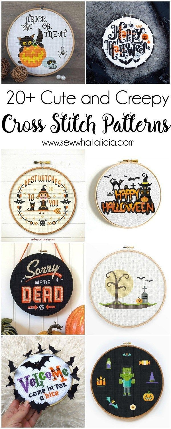 20+ Cute and Creepy Halloween Patterns to Cross Stitch : If you are a fanatic about Halloween and you love to cross stitch then you are going to go nuts over these Halloween Cross Stitch Patterns. Click through for the full list of patterns. | www.sewwhat