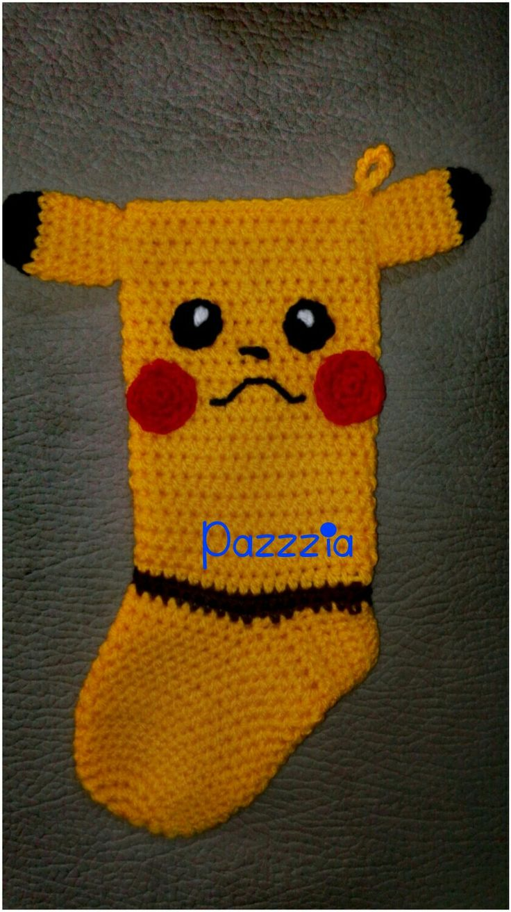 Pikachu calza epifania crochet - Christmas Stocking