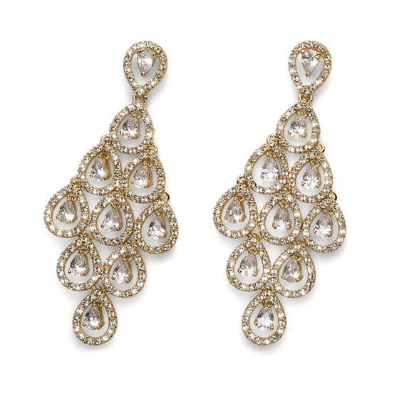 Loucri Jewelers - Swarovski Collection Gold Tone Queen of Elegance Lavished pendant droplet earrings $309.00