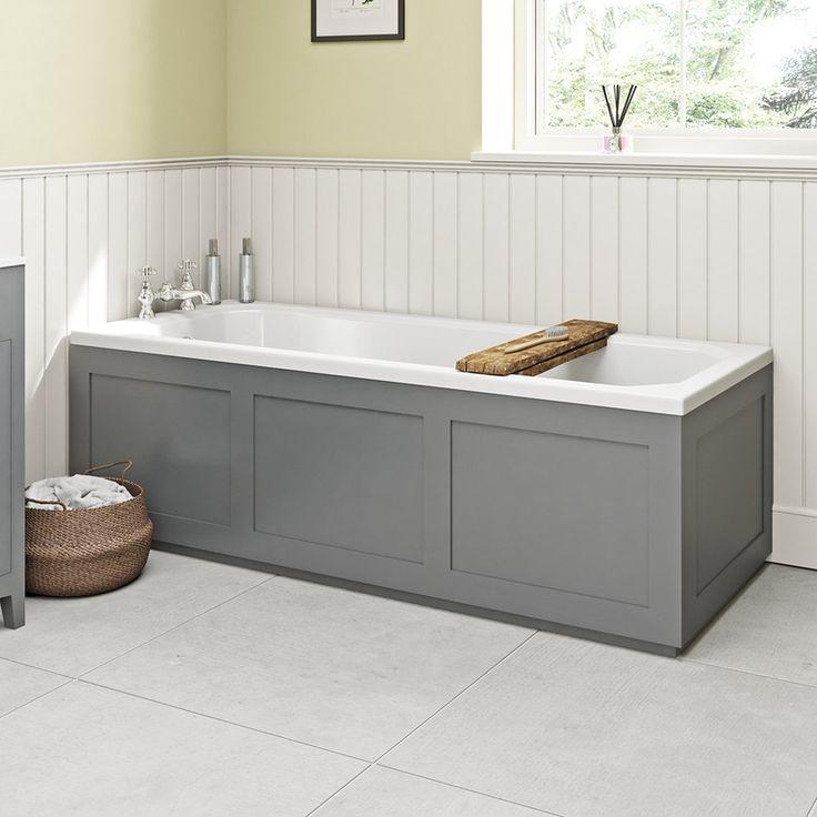 The Bath Co. Camberley grey wooden straight bath front panel 1700mm   VictoriaPlum.com