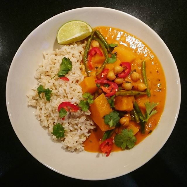 Brazillian Butternut and chickpea coconut curry