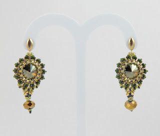 Nitecznik earrings beading beads swarovski crystal nitecznik.blogspot.com
