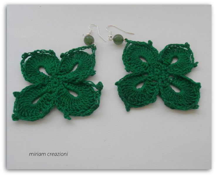 orecchini verdi all'uncinetto, by  vetrina miriam chiocciola, 6,00 € su misshobby.com