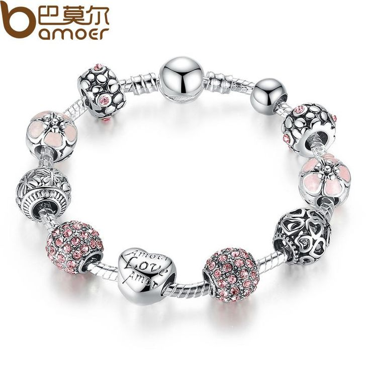 Antique 925 Silver Charm Bangle & Bracelet with Love and Flower Crystal Ball