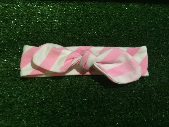 Candy pink and white stripe bow knot topknot headband