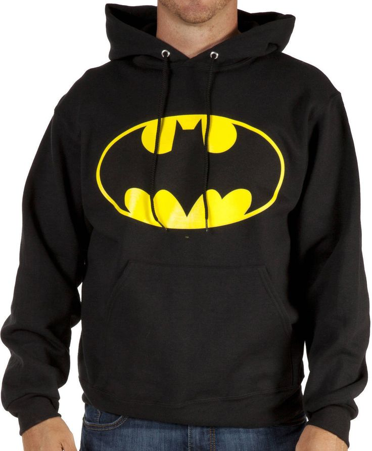 This Logo Batman hoodie features the Dark Knight's Bat symbol.