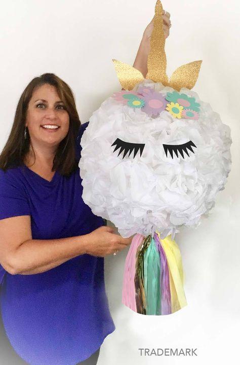 Unicorn Piñata, Unicorn Party, Unicorn Birthday Piñata, Unicorn Horn and flowers, huge pinata by PomJoyFun on Etsy