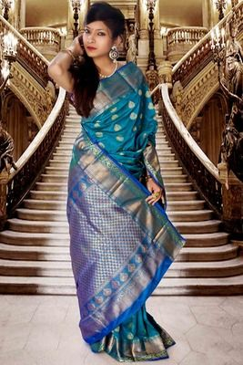 Blue pure silk zari weaved saree with royal blue pallu Buy Now @ Rs 8150